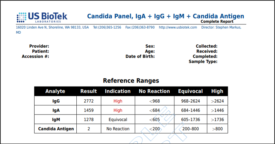 US BioTek Candida Screening Sample Report